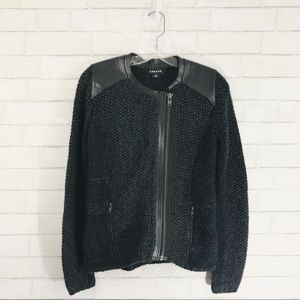 Trouvé gray faux leather shoulder knitted jacket